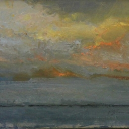 "Great Salt Lake Toward Evening ● 11"" x 14"" ● Oil ● SOLD"