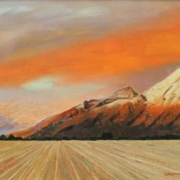 "Sunset over Springville ● 18"" x 24"" ● Oil ● SOLD"