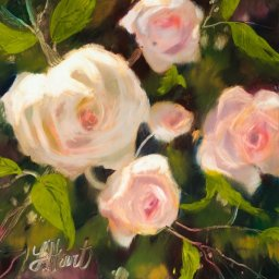 """Pink Roses ● 8"""" x 8"""" ● Oil ● $400"""