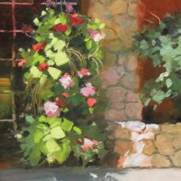 "Flowers at Tuscany ● 8"" x 10"" ● Oil ● $400"
