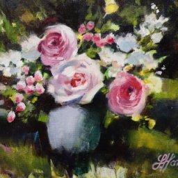"Gabls Flowers ● 9"" x 12"" ● Oil ● $450"