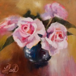 "Tammy's Roses ● 8"" x 8"" ● Oil ● $400"