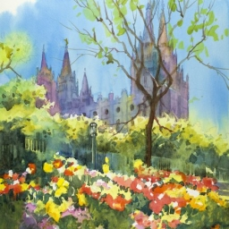 "Spring on Temple Square ● 10 1/2"" x 14 1/4"" ● Watercolor ● $600"