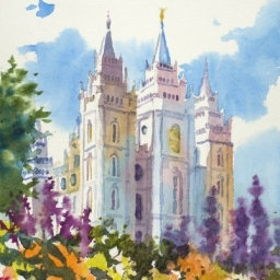 "Temple Square Spring Flowers ● 7"" x 10 1/2"" ● Watercolor ● $400"