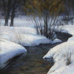 "Winter Stream (Big Cottonwood Creek) ● 11"" x 14"" ● Oil ● $950"