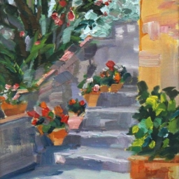 "Pots at Tuscan Villa ● 8"" x 10"" ● Oil ● $340"