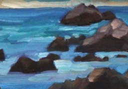 "Pacific Grove Winter Evening ● 4"" x 12"" ● Oil ● $175"