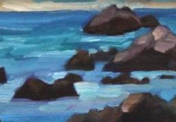 "Pacific Grove Winter Evening ● 4"" x 12"" ● Oil ● $175"