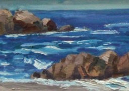 "Sun Coming Out Pacific Grove ● 4"" x 12"" ● Oil ● $175"