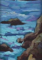 """Pacific Sunset ● 4"""" x 12"""" ● Oil ● $175"""