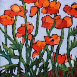 "More Poppies ● 12"" x 16"" ● Oil ● $850"