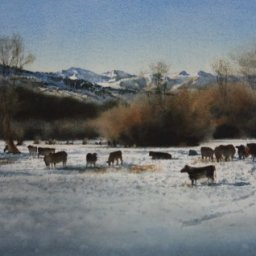 """Distant Peaks ● 11"""" x 21"""" ● Varnished Watercolor ● $1850"""