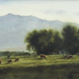 """Evening Pasture ● 9"""" x 13"""" ● Varnished Watercolor ● SOLD"""