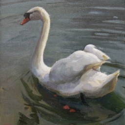"The Swan in Stuttgart ● 11"" x 14"" ● Oil ● $650"