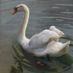 """The Swan in Stuttgart ● 11"""" x 14"""" ● Oil ● $650"""